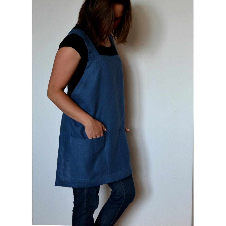 Blue apron japan - Linen Apron Japanese Apron Artist Apron Woman Apron Artist Smock Pinafore Square Cross Linen Apron Linen Tool Apron Plus Size Apron