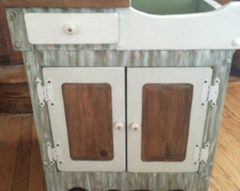 Antique dry sink cabinet