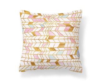 Throw Pillow Pink and Gold, Decroative Pillow, Gold Pillow, White pillow, stained glass pillow