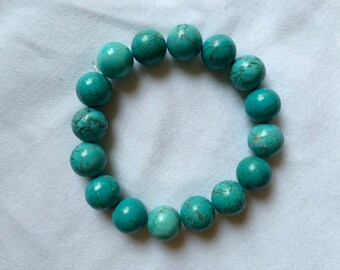 Authentic Turquoise Stretch Bracelet with Granite Design