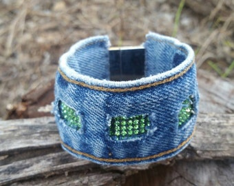 Upcycled Denim Bracelet with Green Bling and Magnetic Clasp