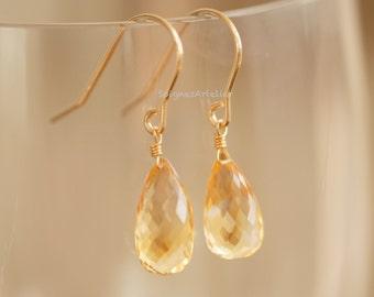 Semi-precious Citrine Teardrop Briolette Dangling Earrings in 14K Gold-filled