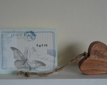 Hello butterfly fabric greeting card