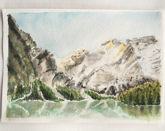 Landscape Painting, Lake and Mountains, Watercolour Painting, Original Artwork