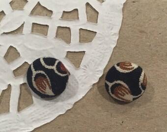 Fabric, patterned, stud earrings