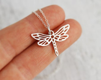Dragonfly Necklace - Small Sterling Silver Dragonfly Necklace - Open Work Dragon Fly Pendant - Dragonfly Jewelry - Insect Jewelry