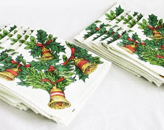 11 Vintage Linen Christmas Napkins w/ Bells and Holly Leaves