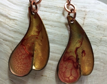 Painted Orange Vintage Copper Earrings