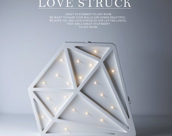 Mini Diamond Battery Operated Night Lights Wooden diamond lights Diamond wall decor Preorder Feb 20th delivery