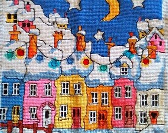 Finished Cross Stitch Picture Street, Michael Powell design, Hand Embroidery, Home Decor, Gift