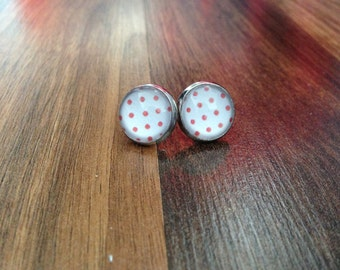 Red Polka Dots Cabochon Earrings