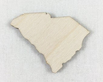 Wood South Carolina Shape Cut Out, Unfinished DIY South Carolina Wood Shape, Laser Cut State Shapes, Many Size Options