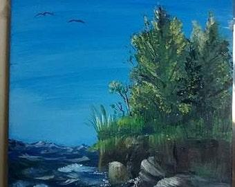 acrylic painting 5x7 ocean scene boat
