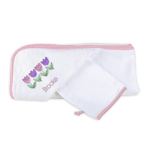 Personalized/Monogrammed Baby Girl Hooded Towel Set With Four