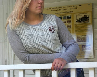 Monogrammed - Tweed Style Plaid Front Shirt