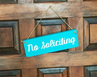 No Soliciting sign - hanging sign - hand painted door hanger - rustic pallet wood no solicitation sign - upcycled home decor - rustic chic d