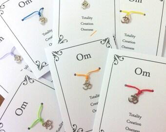 30 X OM Wish Bracelet, Yoga Lover Gift,  Yoga Themed Favor, Yoga, Friendship Gift, Friendship Favors, Yoga Party Gift, Friendship Party, OM