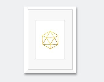 Gold Geometric Polyhedron - Digital Download, Nursery Decor, Minimalistic Decor, Print-At-Home Wall Art, Modern Decor, DIY Print