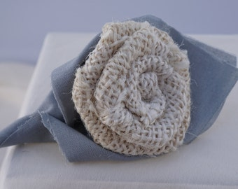 Cream Burlap Flower Boutonniere with Gray wrap around