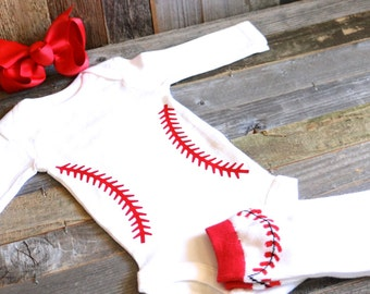 Take Me Out to the Ball Game- Girls 3 piece outfit