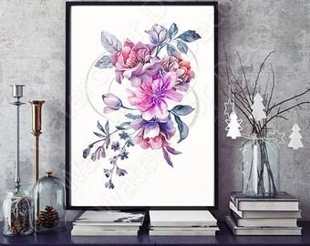 Watercolor Flower Art Print - Giclee Wall Decor Home Decor Housewarming Gift