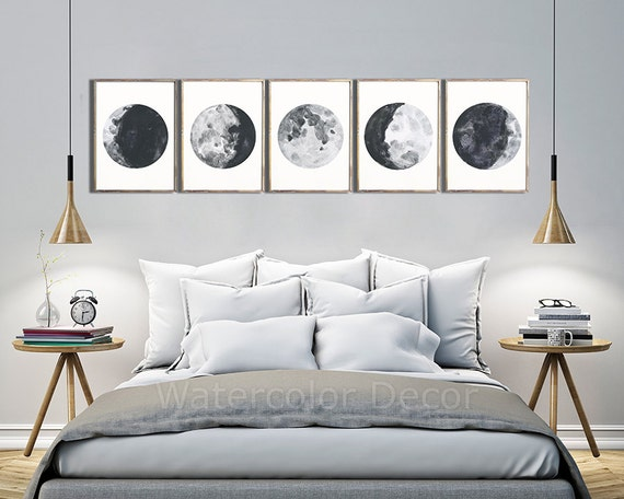 Moon phases watercolor art prints set of 5 lunar phases - Poster decoracion ...