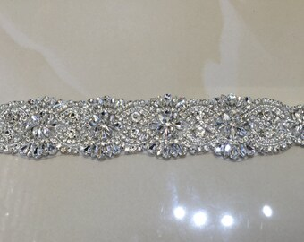 Rhinestone bridal sash applique / weeding dress sash applique/ bridal shower sash applique/ bride sash