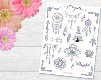 Boho dreamcatcher tent nature planner stickers