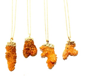 Natural Sea Coral Mustard Yellow Necklace dipped in 24K Gold leaf with 24k Gold Plated Chain