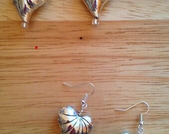 Silver Puffy Heart Earrings