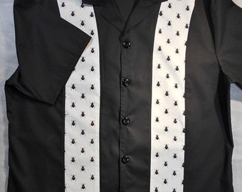 Bugs, Fly, Flies, Retro, Vintage look, Black and white, Bowling Shirt - Small to 2XL