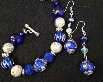Royal Blue Bracelet and Earrings Set