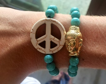buddha + peace sign bracelet pair