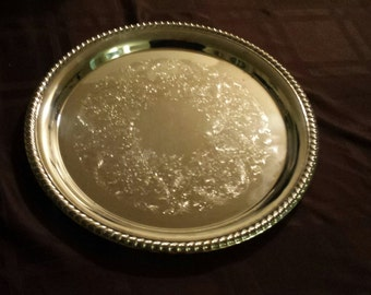 Vintage Silverplate Round Drink Tray By International Silver, Pattern #1190