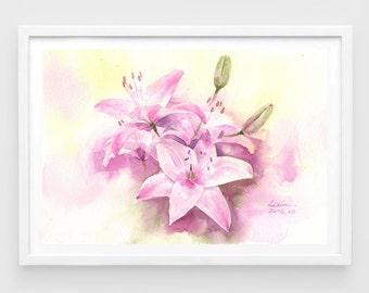"Original watercolor,pink lily,lilies,original painting,7""x10"",aquarelle originale,garden,home decor"