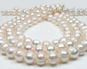 Large hole pearls, white freshwater pearl, available up to 2.5mm hole loose pearl beads, baroque ringed, 10-11mm, lustrous pearls, FQ800-WS