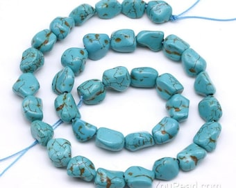 Turquoise beads, 10x12mm nugget, genuine natural turquoise howlite stone beads, loose gem stone strand, wholesale gemstone beads, TQS3360