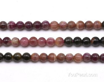 Tourmaline beads, 6mm round, natural tourmaline beaded, gemstone beads, multi color stone round beads for making necklace, TML2020