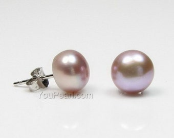 7-8mm lavender pearl earring studs, solid 925 sterling silver earring, button shape cultured pearl earrings for girls, FLB7080-LE