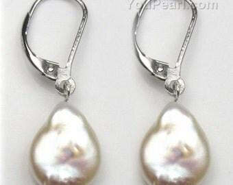 White pearl leverback coin pearl earrings, freshwater pearls dangle earrings, sterling 925 silver genuine pearls teardrop earrings, F1906-WE