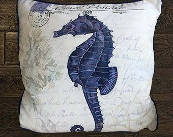 Seahorse Pillow Cover - Seaside Postcard - Nautical Pillow Nautical Decor Seahorse Decor Beach House Decor Coastal Living Coastal Decor