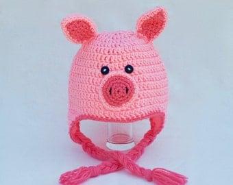 Pink pig crochet hat - newborn-adult hat - baby shower gift idea - crochet hat - pig hat