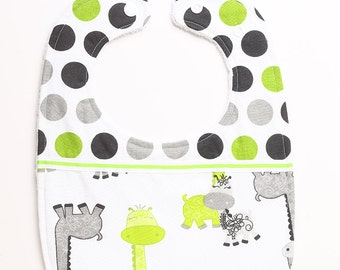 Two Fabric with Trim Baby/Toddler Bib