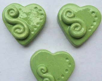 Handmade Ceramic Lime Green Heart Tiles Can Be Used In Mosaics Or Other Mixed Media Projects