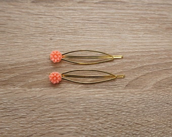 Golden Hair Clips with Peach Resin Flowers (Set of 2)
