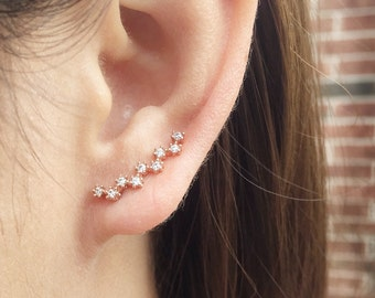 Dainty zigzag ear crawler earrings |ear climber earrings | zigzag ear pins | ear sweep | ear cuffs