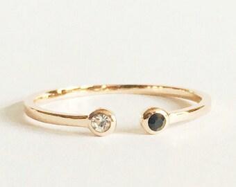Black and white diamond open ring