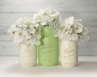 3- Hand Painted Mason Jars Flower Vases- Katie Collection-Country Decor-Cottage Chic-Shabby Chic-French Chic