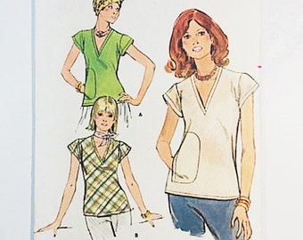70s Blouse Pattern | Butterick 4820 Misses Top Pattern | 70s Sewing Pattern