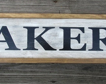 Bakery Wood Sign Distressed Rustic Vintage Home Decor Framed Kitchen Wall Art Sign